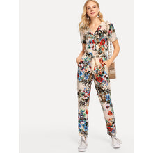 Load image into Gallery viewer, Botanical Print Surplice Wrap Jumpsuit