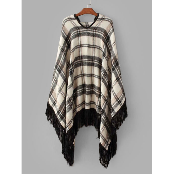 Tartan Plaid Fringe Hem Poncho Sweater