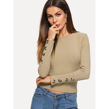 Load image into Gallery viewer, Button Embellished Rib Knit Crop Tee