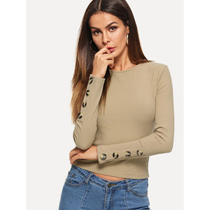 Button Embellished Rib Knit Crop Tee