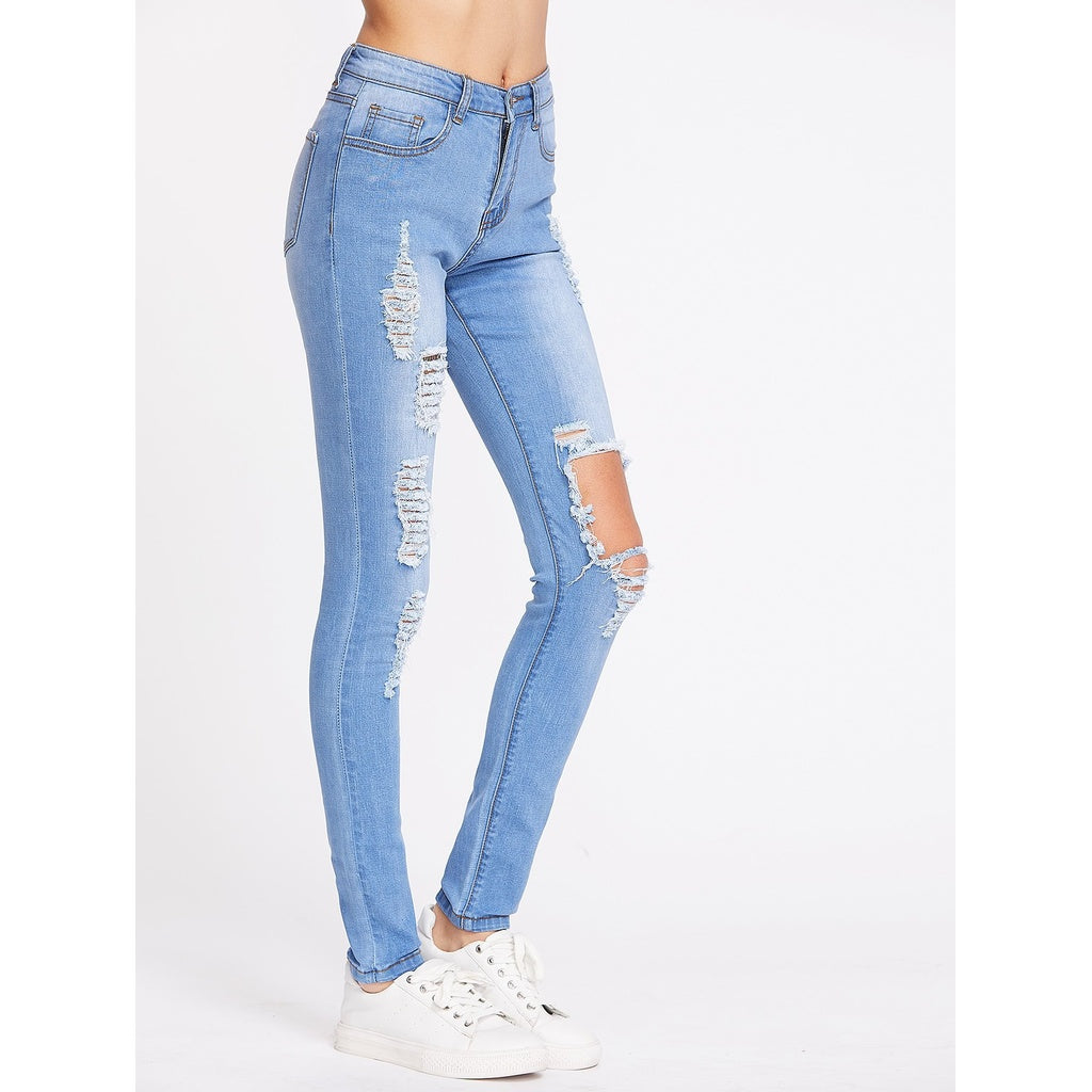 Bleach Wash Distressed Skinny Jeans