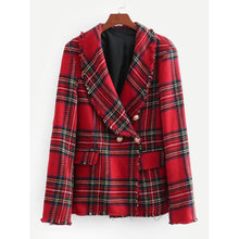 Load image into Gallery viewer, Tartan Plaid Raw Edge Blazer