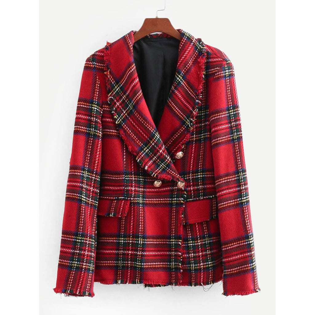 Tartan Plaid Raw Edge Blazer