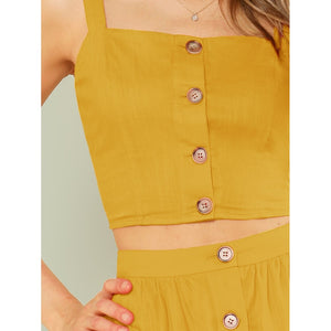 Button Up Crop Cami Top & Flare Skirt Set