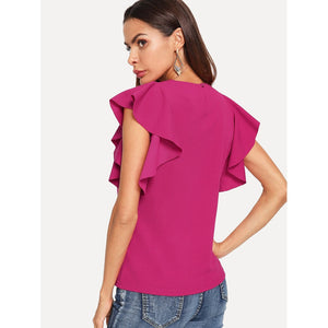 Button Back Ruffle Armhole Sleeveless Top