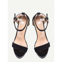 Load image into Gallery viewer, Black Ankle Strap Stiletto Sandals