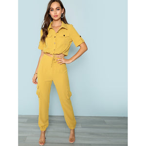 Button & Pocket Front Collar Neck Top & Pants Set