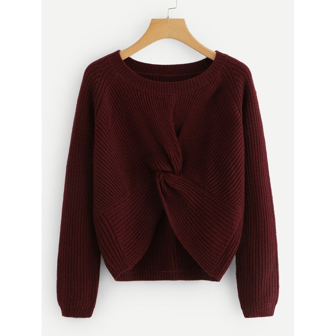 Twist Front Solid Sweater