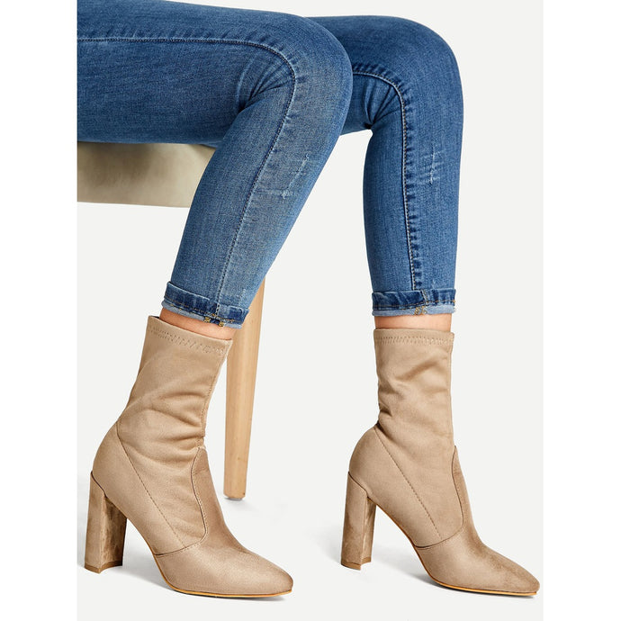 Block Heeled Sock Boots