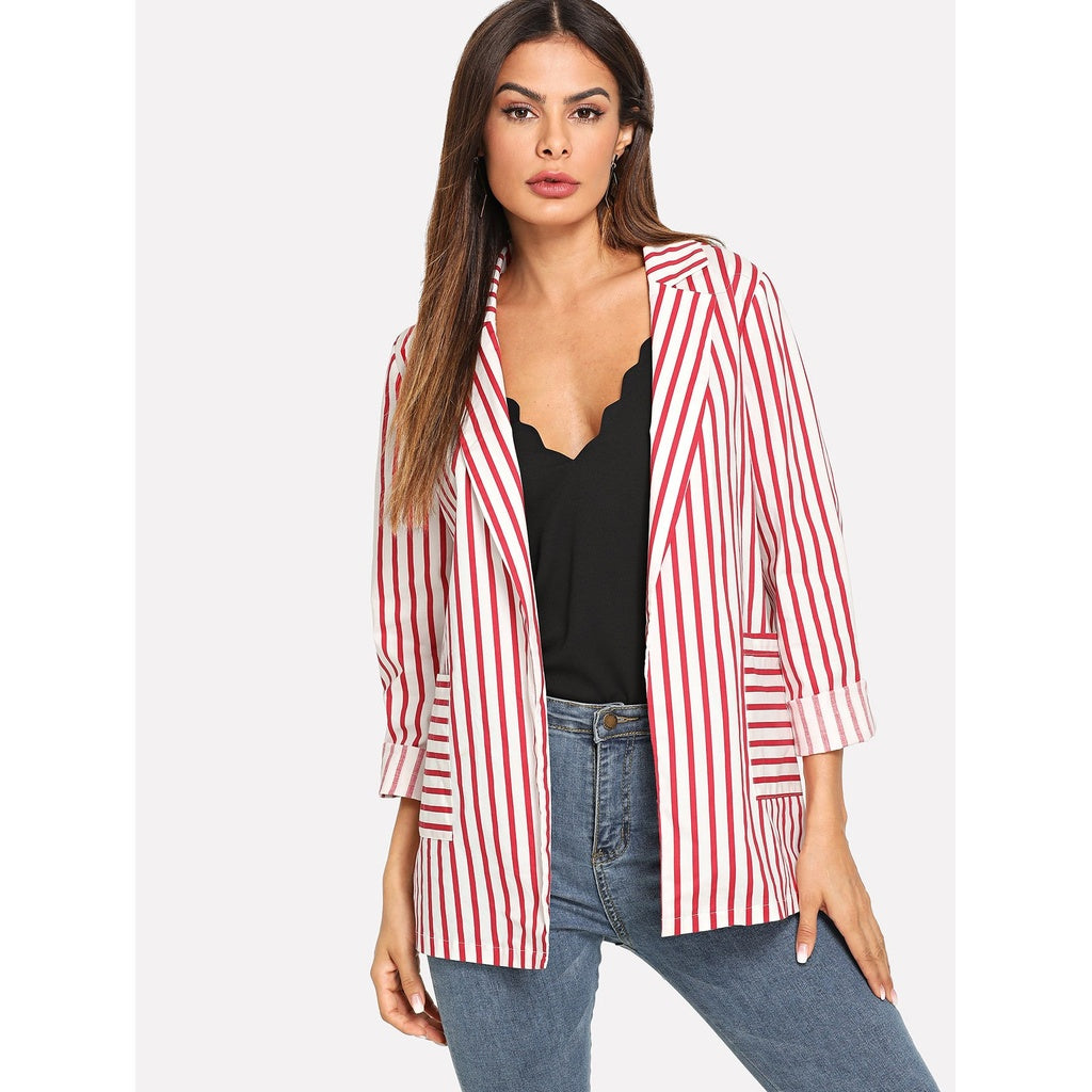 Striped Print Pocket Front Blazer