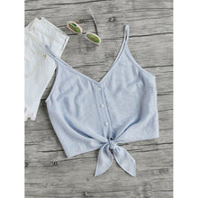 Load image into Gallery viewer, Button Placket Knot Front Cami Top