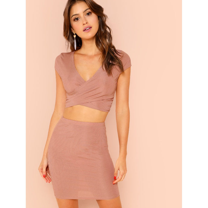 Surplice Neck Crop Top & Bodycon Skirt Set