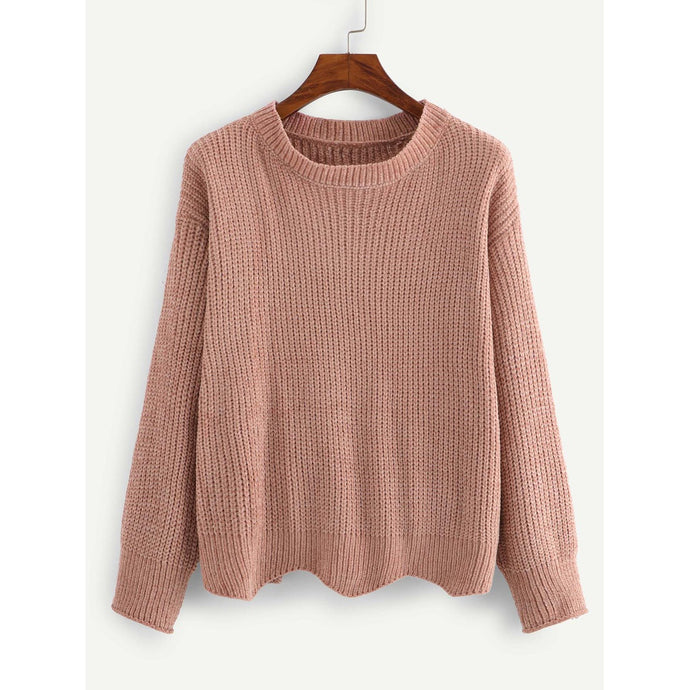 Wave Trim Solid Sweater