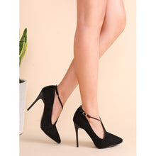 Load image into Gallery viewer, Black Suede Point Toe Cross Strap Stiletto Pumps