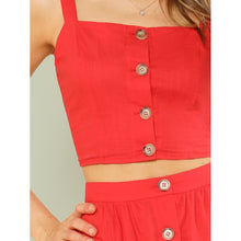 Load image into Gallery viewer, Button Up Crop Cami Top & Flare Skirt Set