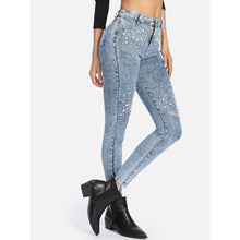 Load image into Gallery viewer, Bleach Wash Faux Pearl Detail Jeans