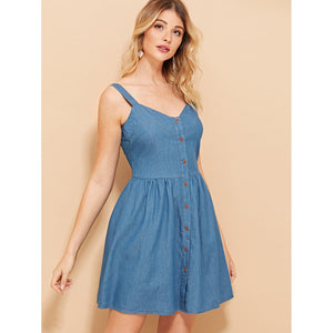 Button Up Fit & Flare Denim Dress