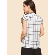 Load image into Gallery viewer, Bow Front Grid Print Blouse