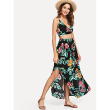Load image into Gallery viewer, Botanical Print Surplice Wrap Crop Top and Skirt Set