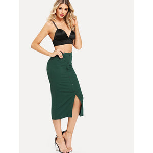 Button Front with Slit Hem Skinny Skirt