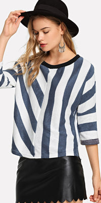 Asymmetric Striped Sweater