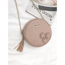 Load image into Gallery viewer, Applique Detail Tassel Round Chain Bag