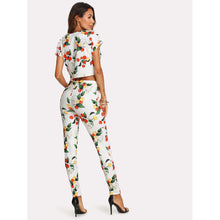 Load image into Gallery viewer, Botanical Print Knot Front Top And Pants Set