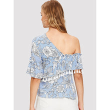 Load image into Gallery viewer, Asymmetrical Shoulder Floral Blouse