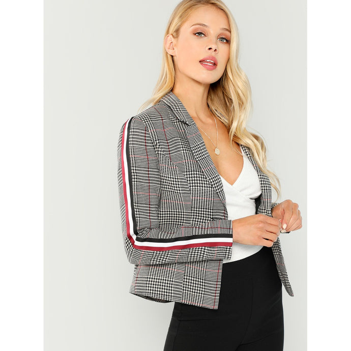 Striped Side Plaid Blazer
