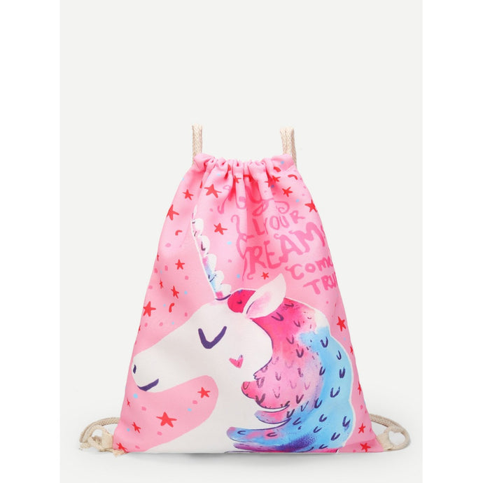 Unicorn Print Drawstring Backpack