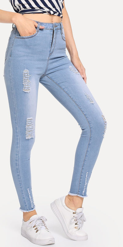 Faded Wash Frayed Hem Ripped Jeans