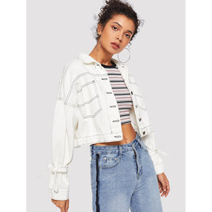 Bow Split Back Crop Denim Jacket