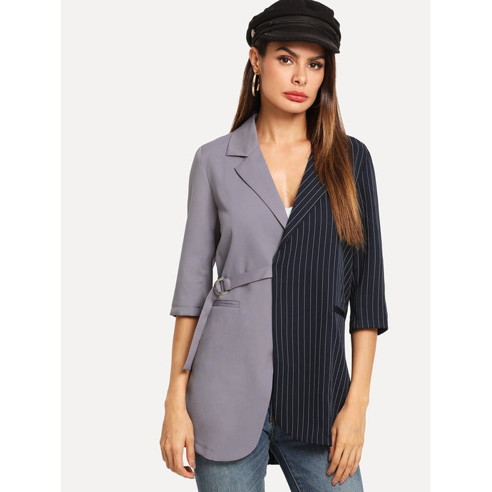 Striped Panel Strap Detail Blazer