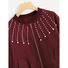 Load image into Gallery viewer, Beaded Detail Zipper Jacket