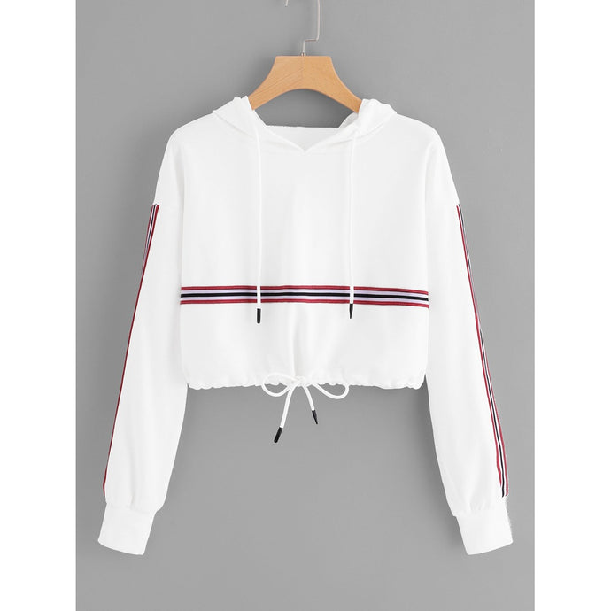 Striped Tape Panel Drawstring Detail Hoodie