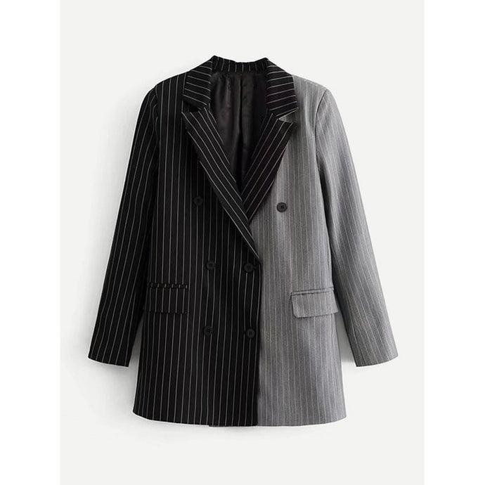 Two Tone Pinstriped Blazer