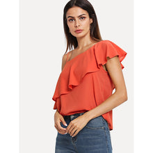 Load image into Gallery viewer, Asymmetrical Neck Flounce Trim Top