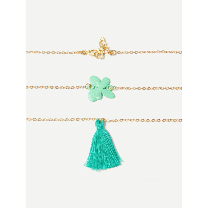 Tassel & Butterfly Detail Chain Bracelet Set 3pcs
