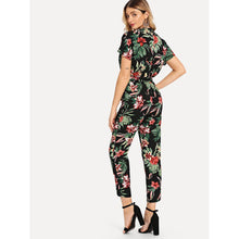 Load image into Gallery viewer, Botanical Print Knot Side Wrap Jumpsuit