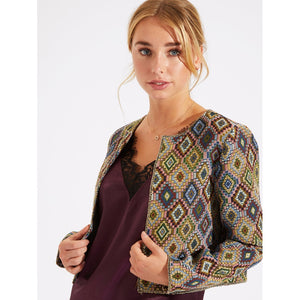 Tribal Print Crop Coat