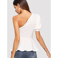 Load image into Gallery viewer, Asymmetrical Puff Sleeve Peplum Top
