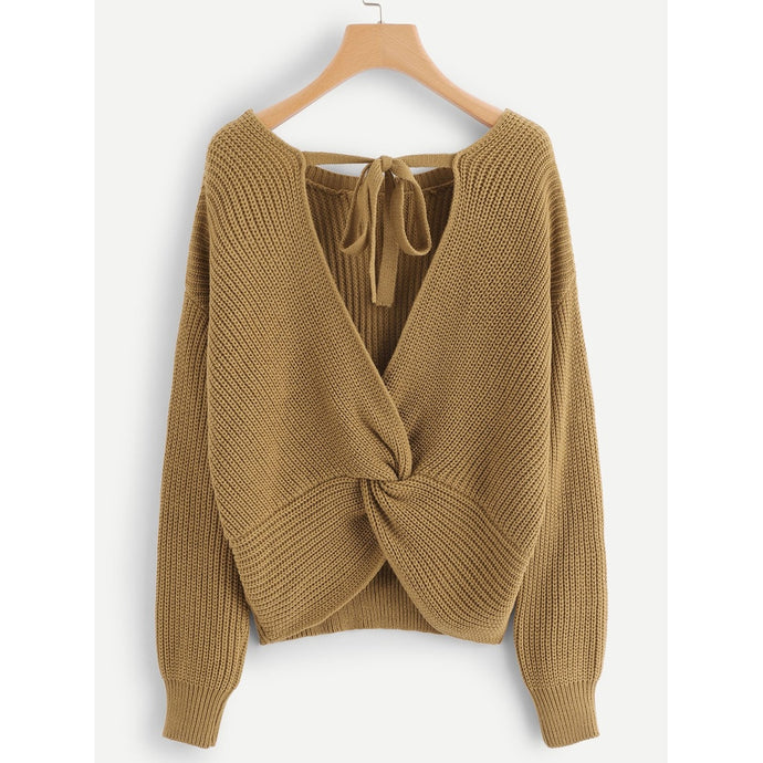 Twist Back Solid Sweater