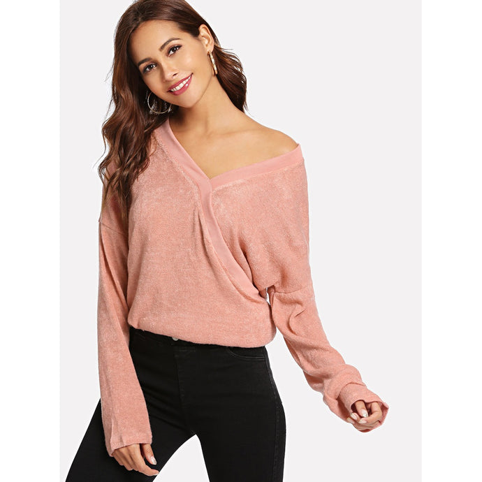 V Neck Solid Sweaters