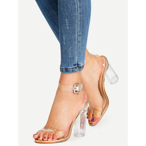 Ankle Strap Clear Design Heels