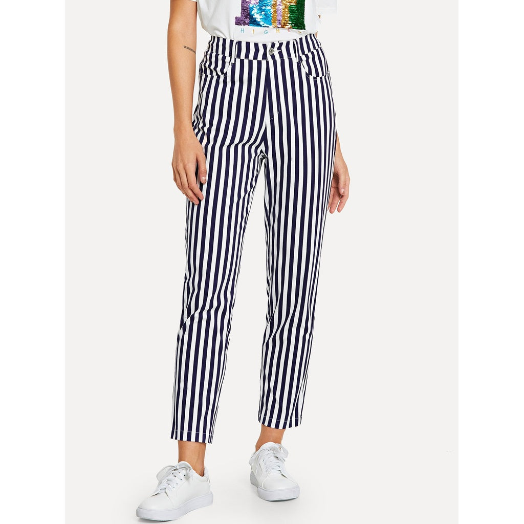 Button Fly Striped Print Pants