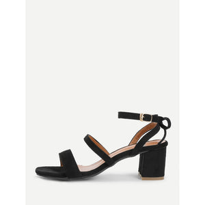 Bow Back Block Heeled Suede Sandals