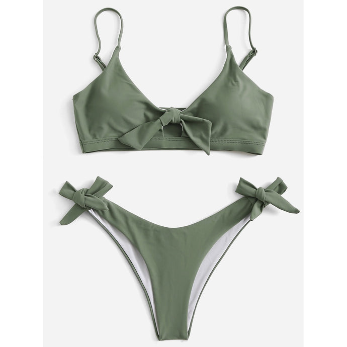 Tie Side Plain Bikini Set