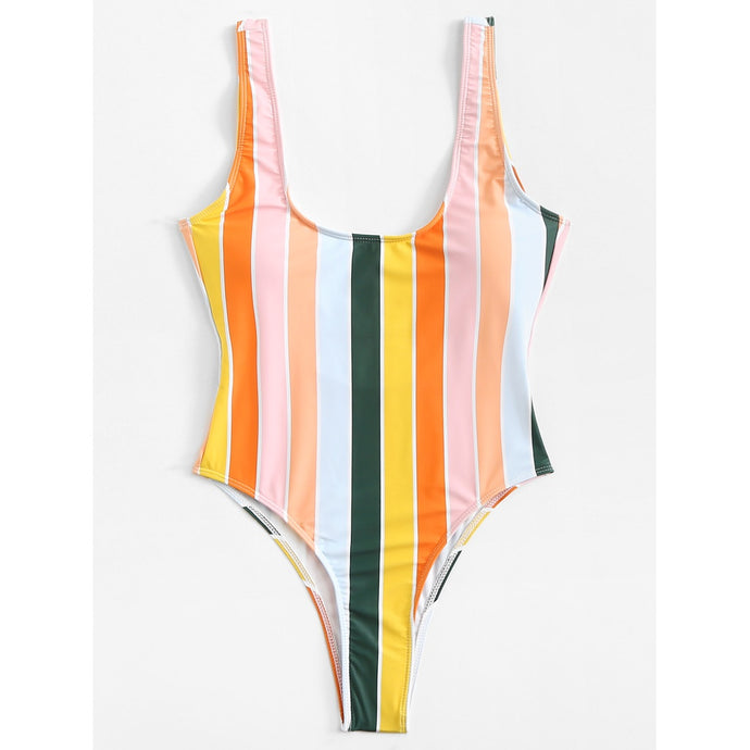 Striped Low Back Swimsuit