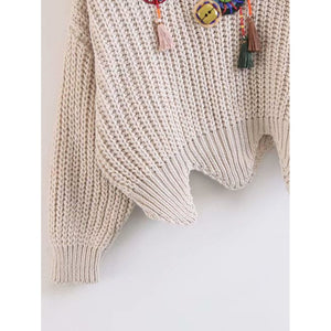 Beaded Detail Wave Hem Chunky Knit Jumper