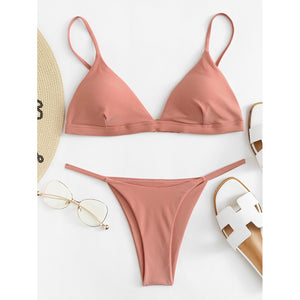 Adjuatable Straps Triangle Bikini Set